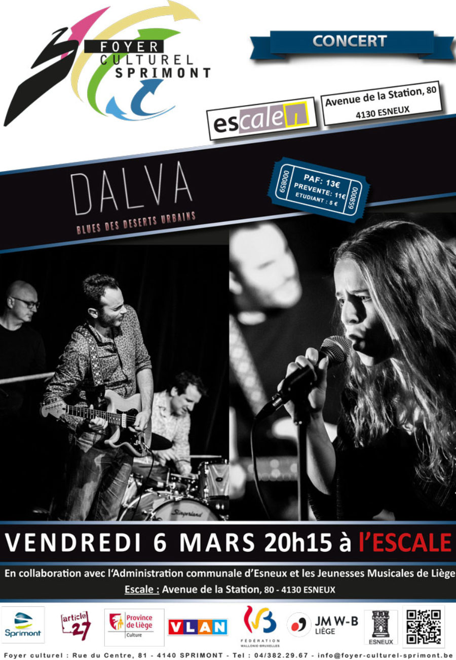 vendredi 6 mars 2020 à 20h15  » Concert – DALVA – Blues/Folk/Afro/Roots  Le blues des déserts urbains