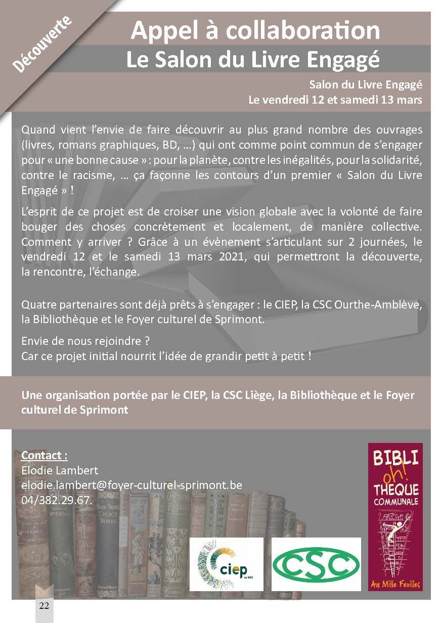 Appel à collaboration – Le salon du livre engagé